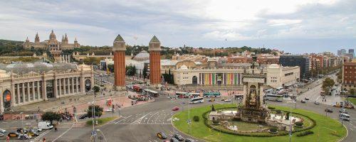 street, roundabout, barcelona